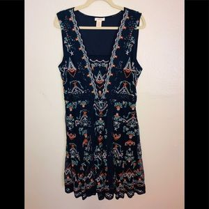 NWOT Sundance Navy Lace and Embroidery Midi Dress